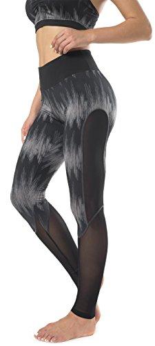 Sugar Pocket Femme Leggings de Sport Pantalon Collant Stretch Extensible pour Yoga Fitness Jogging Noir/impression Gris