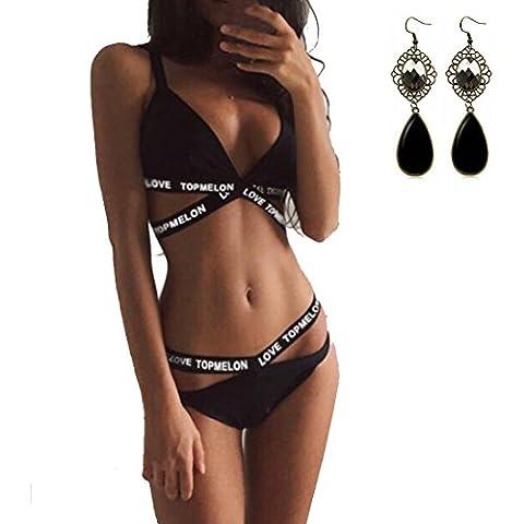 M-Queen Femme Bandage Push Up Bikini Taille Haute Brésilien Bikini Maillot De Bain Ensemble de Deux Pièces Noir - Asian Medium