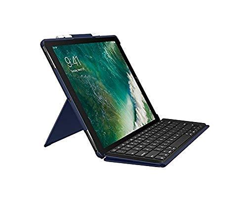 Logitech Slim Combo mit abnehmbarer Tastatur und Smart Connector (für iPad Pro 12,9 Zoll (1. und 2. Generation), Deutsches Tastatur Layout) blau (Abnehmbare Für Tastatur Ipad)