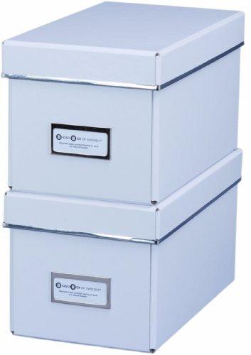 Bigso 385204801 7330061385406 Elsa Lot de 2 boîtes Range-CD Blanc 28,5 x 16,5 x 15 cm