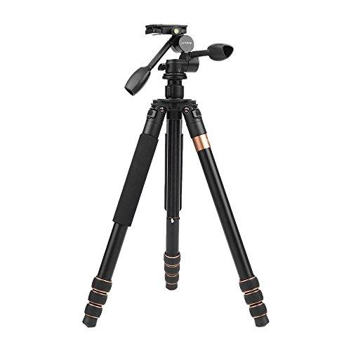 Tripode Andoer 180cm Trípode de cámara video de aleación de aluminio con 360° Ball Head,Dual Handle 3-vías Ballhead Fotográficas para Canon Nikon Sony Panasonic DSLR Videocámara.Max.Carga 20kg