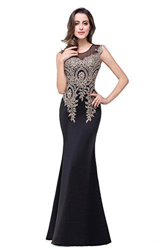 Misshow Kleider Schwarz mit Spitze Feinen Spitze mit Träger Glitzer Elegant Abendkleid