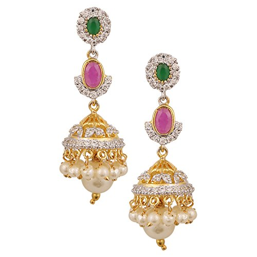 Swasti Jewels American Diamond CZ Fashion Jewellery Traditional Ethnic Pearls Jhumka Earrings for Women