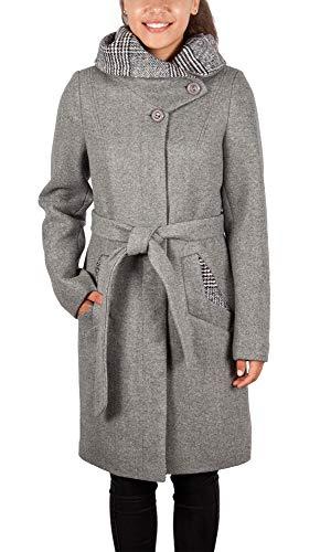 Grimada 1740 Damen Wollmantel Kurzmantel COOTIC mit Kapuze (40, grau)