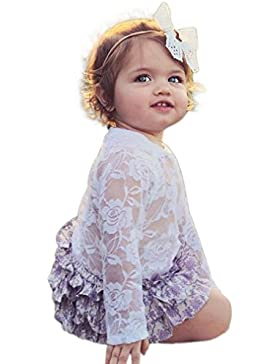 Longra Neugeborenes Kleidung Baby Mädchen Solid Lace Kleid Floral Strampler Spitzenkleider LangarmBaby Bodys Playsuit...