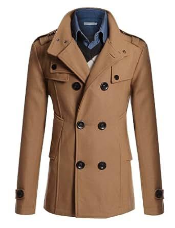 Doublju Mens Double?Wool Half Trench Coat BEIGE 2XL (868) XX-Large / EU X-Large