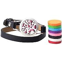 Aromatherapie Diffusor Lederarmband, Schmuck Edelstahl Armband mit 8 Pads für Frauen Mädchen Geschenk - Achort preisvergleich bei billige-tabletten.eu