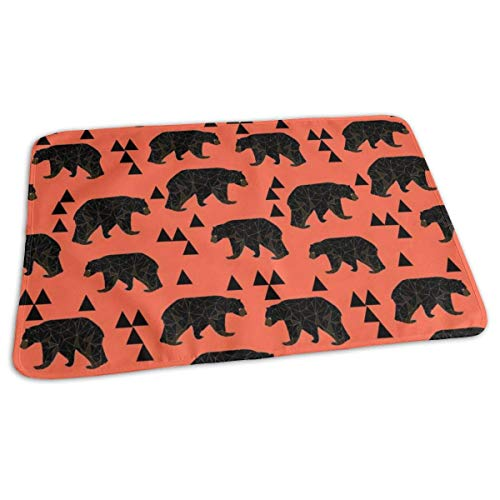 Geometric Bear Coral Geo Bear with Triangles Baby Portable Reusable Changing Pad Mat 19.7X 27.5 inch -