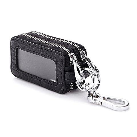 Happyit Double Zipper Split Porte-clés en cuir véritable en cuir Porte-clés Universelle Polyvalente (noir)