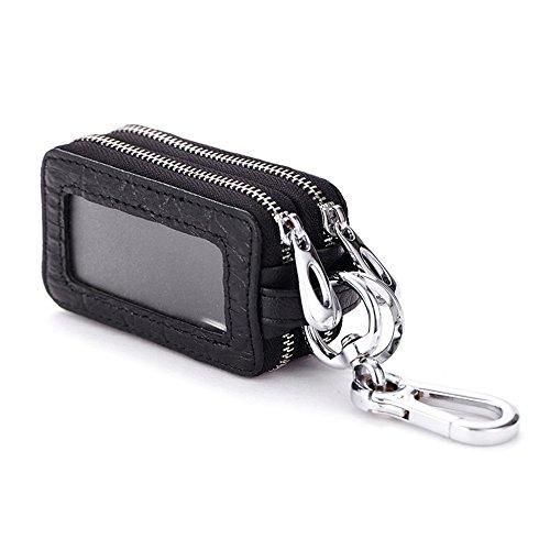 Preisvergleich Produktbild Happyit Doppel-Reißverschluss Split Echtes Leder Auto Schlüsselhalter Vielseitige universelle Key Wallets (Schwarz)