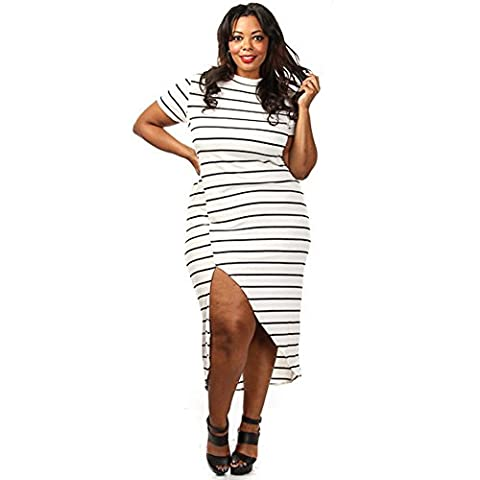 MEINICE Plus Size White Black Stripe High Slit Maxi Dress S