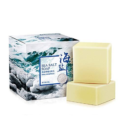 Natürliches Meersalz Handgemachte Seifenkontrolle Reinigen Porenentfernung Pickel und Milben, mild und nicht reizend, Gesicht und Körper, Frauen und Männer, Für alle Hauttypen, Problemhaut 100g -
