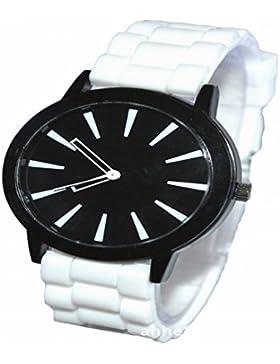 Orrorr weiß -Silikon-Gummi Jelly Jel -Band-Sport Unisex Damen Herren Analog Quarz-Armbanduhr