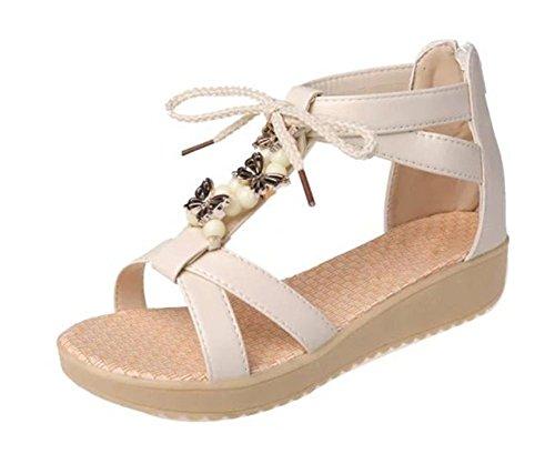sandales de plage d'été perlés sandales plates étudiante meters white