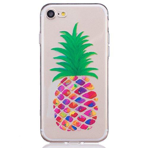 Per iPhone 7 Plus Custodia,Mobilefashion Custodia in Ultra Sottile TPU Protettiva Case Cover per Apple iPhone 7 Plus 5.5 inch (lupo M) + Pellicola Protettiva Dono Gratuito + Colore casuale Protezione  Colorato ananas M