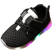 zapatos bebe niño invierno vestir casual, Sannysis LED Zapatillas de Colores de Luces Transpirables zapatos niña invierno zapatos deportivos niñas Running Sneakers (Talla 25, Negro)