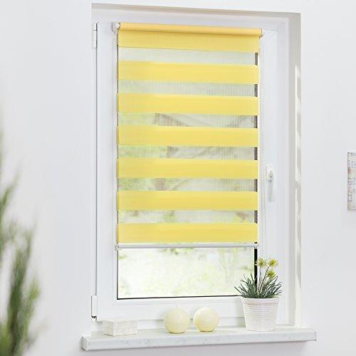Lichtblick Duo-Rollo Klemmfix, 80 cm x 150 cm (B x L) in Gelb, ohne Bohren, Doppelrollo für Fenster & Türen, moderner Sichtschutz, innovative Kombination aus Rollo & Jalousie - 2