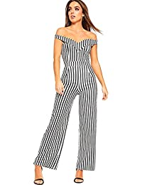 b5fd2186692a WearAll Women s Monochrome Striped Print Jumpsuit Ladies Off Shoulder  Sleeveless Trousers 8-14