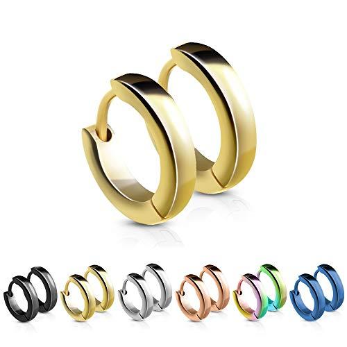 Treuheld® | Schmale Creolen/Ohrringe aus medizinischem Edelstahl | 2,5mm x 12mm | Gold | Klappcreolen für Damen und Herren | Set/Paar