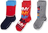 Tommy Hilfiger Th Kids Sock 3p Giftbox Chaussettes, Multicolore (Red Blue 940), 31-34 (Taille fabricant: 031) (Lot de 3 Garçon