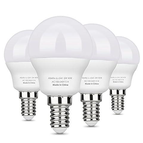 Albrillo 5W E14 LED Lampe G45, ersetzt 40W, warmweiß, 400 Lumen, 4er Pack (5W)
