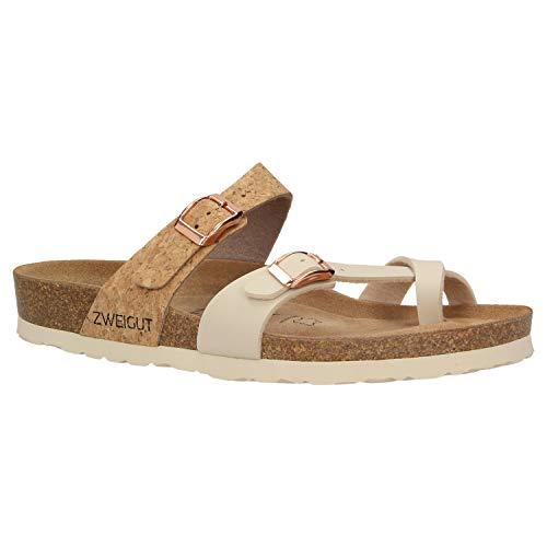 Zweigut® -Hamburg- luftig #553 Sandale Damen Pantolette Leder Komfort Soft Fußbett Sommer Schuhe 3er-Riemen, Schuhgröße:39, Farbe:beige-Kork -