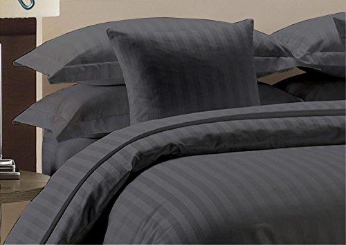 Precious Star Linen Hotelqualität 1000 TC Reißverschluss 3-teiliges Bettwäsche-Set mit Eckbändern, ägyptische Baumwolle King/Cal-King (92 x 104 Inch) Dark Grey Striped (Cal-king-size-bettwäsche-sets)