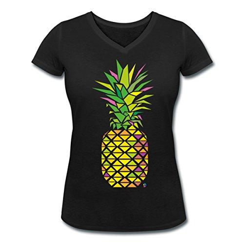 Ananas Géométrique Triangles Multicolore T-shirt col V Femme de Spreadshirt® Noir