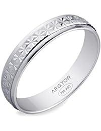LORNA - www.diamants-perles.com - Alliance fantaisie - Mariage - Or blanc 375/1000 - 9 carats - Largeur 4 mm