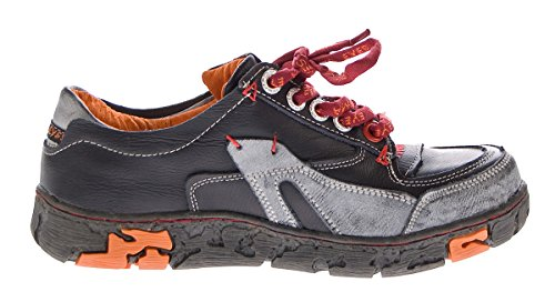 Comfort Damen Sneakers Leder Schuhe Schwarz Grün Weiß Gelb Turnschuhe Schnürer Halbschuhe Schwarz