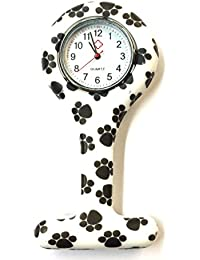 E-FAST® SILICONE GEL Nurses Fob Watch Washable, Infection Free (DESIGN BLACK & WHITE PAW)