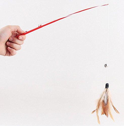 Da.Wa 3X Juguetes para Gatos Sticks de Juguete Interactivo con Colgante de la Artificiales Plumas (Color al Azar)