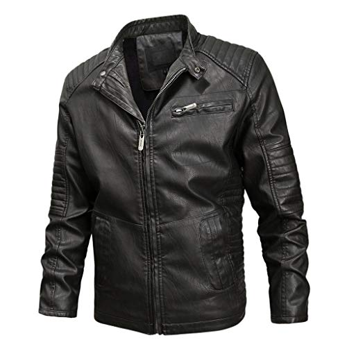 Herren Lederjacke MäNner Casual Langarm ReißVerschluss Mantel Premium Motorrad Outwear Plus Size(Schwarz 2,M)