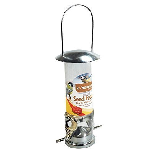 2x SEED FEEDER WILD BIRD DELUXE STAINLESS STEEL GARDEN HANGING WILDLIFE FOOD FINCH Test