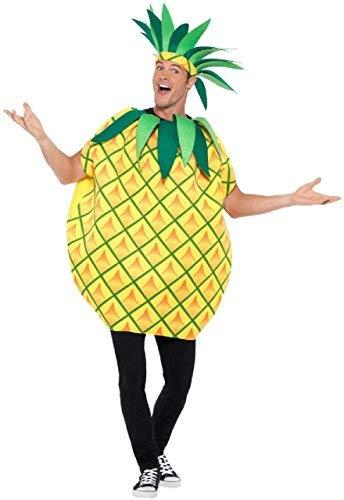 Herren Damen Erwachsene Ananas gelb Frucht 5 einen Tag Hawaii Thema Party Spaß Kostüm Kleid Outfit (Ananas Kostüm Für Erwachsene)