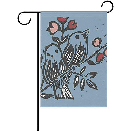 Love Birds Garden Flag (HujuTM Love Birds Polyester Garden Flag Outdoor Flag Home Party Garden Decor, Double Sided, 12