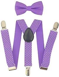 APOO Red Dot Bow Tie Set Tirantes Tirantes para niña Correa elástica Suspensorio para niños Rosy Purple Jartiyer Tirantes Sus10