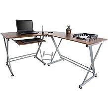 Mari Home Westfield - Escritorio de esquina para oficina o casa, grande, color nogal, para ordenador, con una bandeja para teclado