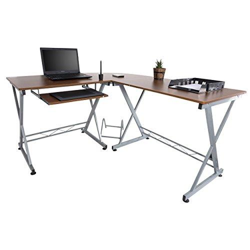 Mari Home - Westfield Noce Scrivania per ufficio computer Scaffale Ripiani computer desk angolare Tavolo (Ufficio Noce Scrivania)
