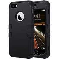ULAK iPhone 5 case iPhone 5S caso iPhone SE Funda Cases Carcasa Wave hñbrida resistente Suave TPU + PC para el iPhone 5S 5 SE con protector de pantalla y Stylus (Negro)