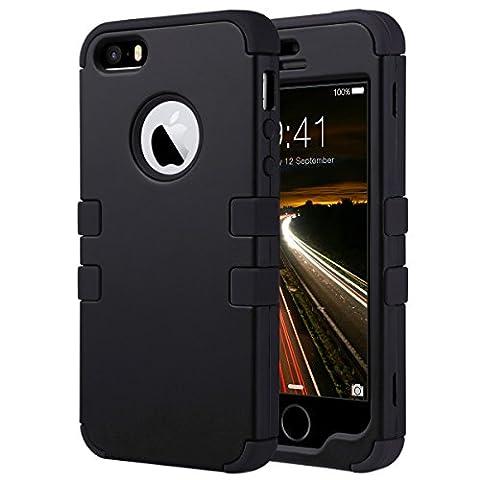 Coque iPhone 5S, ULAK iPhone SE Coque Housse de Protection Anti-choc Matériaux Hybrides en Silicone Souple et PC dur Coque pour Apple iPhone 5 5S SE (Noir)