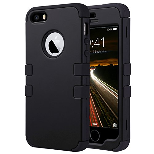ULAK Cover per iPhone 5S, iPhone SE/5 Custodia ibrida a protezione integrale con parte esterna in 3 strati di morbido silicone e interno rigido per Apple iPhone 5S/5/SE -Nero