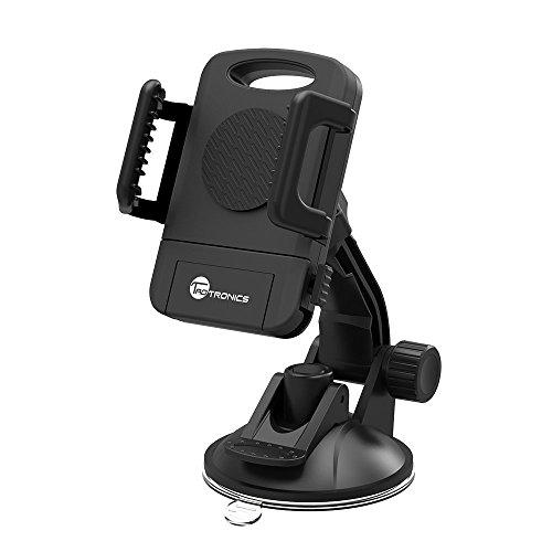 Soporte Móvil Coche Universal TaoTronics con Ventosa Gira 360 Grados Para Teléfonos Inteligentes, Soporte y Montaje Parabrisas/Salpicadero de Coche, Color Negro