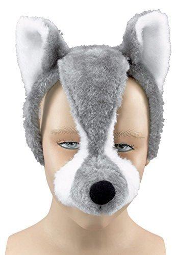 Damen Herren Mädchen Jungen Animal Halloween Buch Kostüm Gesichtsmaske mit Ton Kostüm Outfit Zubehör - (Kostüm Für Jungen Halloween Wolf)
