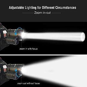 Linterna Frontal LED Recargable de Trabajo, 6000 Lúmenes, Función de Zoom, 4 Modos de Luz con Flash, Ligera Elástica, Impermeable para Ciclismo, Correr, Deportes Nocturnos