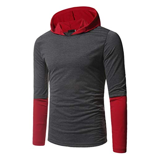 f94676edff3c9 Yvelands Long Sleeve T-Shirt Men s Fashion Casual Stitching Hoodie Long Sleeve  Shirt Top Blouse