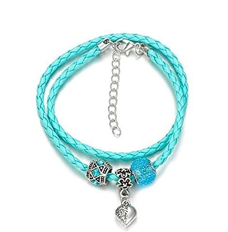 Wangjianfeng Peach Heart pendentif perle de verre cordon de peau Bracelet , light blue