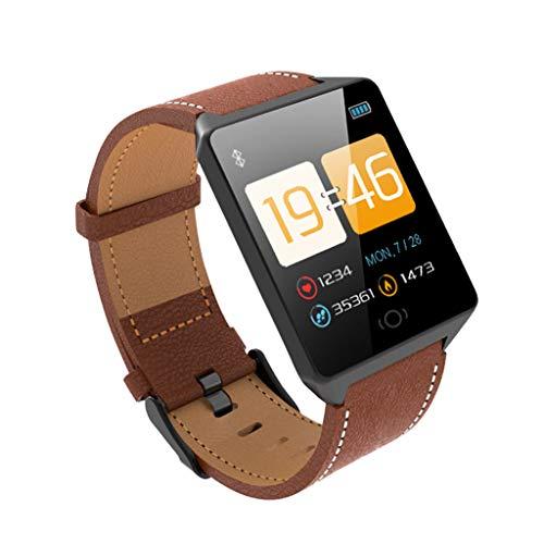 SoonerQuicker Uhr Mit Schrittzähler Smart Watch Sport Fitness Aktivität Herzfrequenz-Tracker Blutdruck Kalorien Kaffee one size - Braun Schwarz Karaffe
