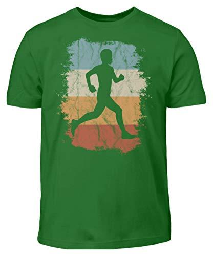 Retro Läufer Vintage Jogger für wahres Lauf-Fans und Old School Marathon Runner Freaks - Kinder T-Shirt -7/8 (122/128)-Kelly Green - 70er-jahre-kelly-grün