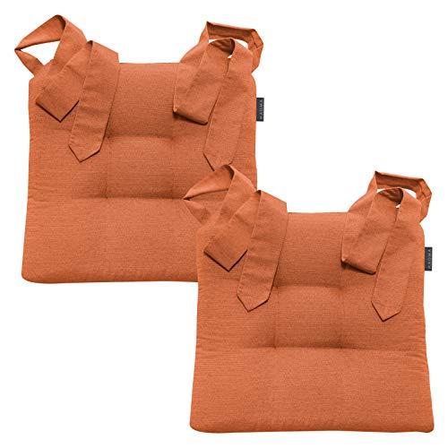 Magma Stuhlkissen mit Schleifenband - FINO Form 37-42cm x 46cm x 7cm - 2er Set - einfarbig - waschbar - viele Farben, Farbe:Magma_orange_042